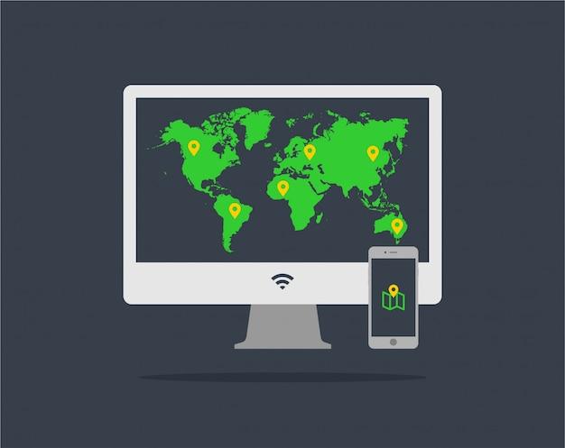 Ordinateur design plat abstrait et smartphone avec application de la carte