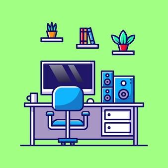 Ordinateur de dessin animé d'illustration d'espace de travail avec le verre de livre d'usine de moniteur de chaise et le son sur la table