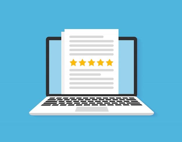 Ordinateur avec évaluation des commentaires des clients, étoiles de notation