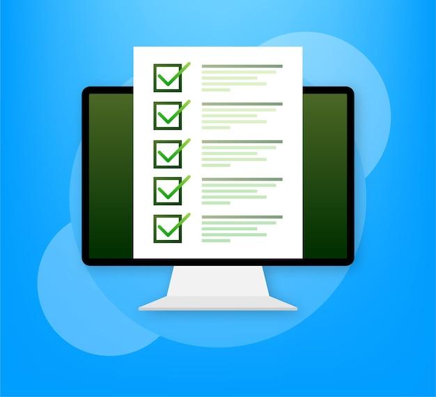 Ordinateur avec examen en ligne sur vert