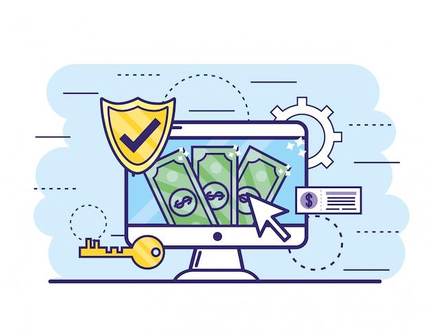 Ordinateur avec factures et clé de la banque en ligne