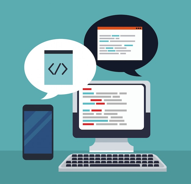 Ordinateur de fond tech couleur et codes de programmation dans la boîte de dialogue