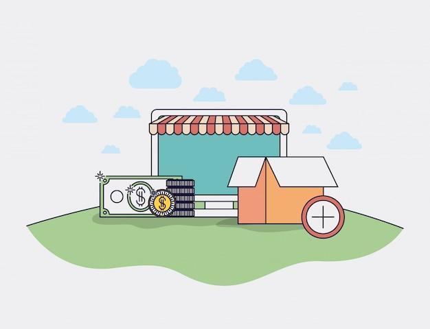 Ordinateur avec icônes de commerce électronique et parasol