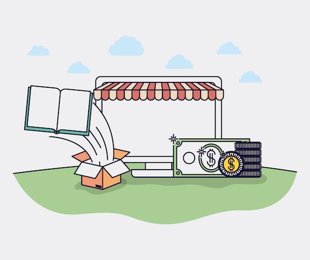 Ordinateur avec des icônes de parasol et de commerce électronique vector illustration design