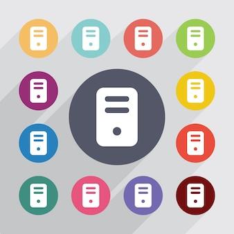 Ordinateur, jeu d'icônes plat. boutons colorés ronds. vecteur