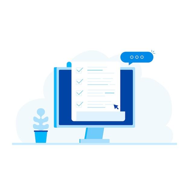 Ordinateur et liste de contrôle, moniteur pc avec document papier long et liste de tâches avec cases à cocher