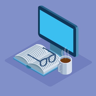 Ordinateur avec livre, verres et tasse de café sur fond violet, isométrique coloré