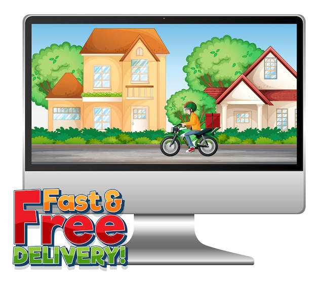 Ordinateur avec logo de livraison rapide et gratuite