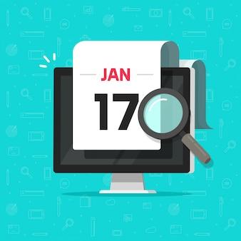 Ordinateur avec loupe de calendrier date recherchant un dessin animé plat