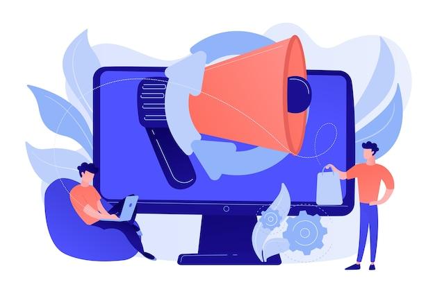 Ordinateur avec mégaphone et homme d'affaires avec ordinateur portable et sac à provisions. marketing numérique, commerce électronique, concept de marketing des médias sociaux. illustration isolée de bleu corail rose