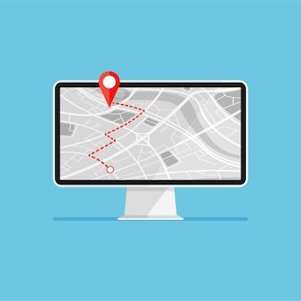 Ordinateur avec navigation par carte à l'écran navigateur gps avec carte de ville rouge avec marqueur de point