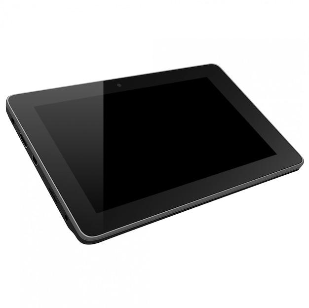 Ordinateur pc tablette réaliste avec écran blanc isolé sur fond blanc.