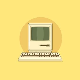Ordinateur personnel rétro vintage avec clavier