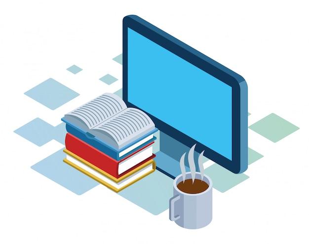 Ordinateur, pile de livres et tasse de café sur fond blanc, isométrique coloré