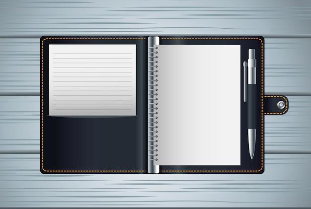 Ordinateur portable agenda maquette noire icône vector illustration design