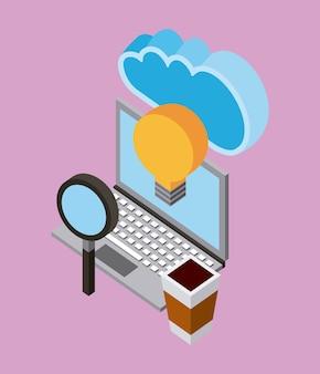 Ordinateur portable analyse créativité nuage informatique stockage isométrique