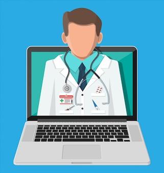 Ordinateur portable avec application de pharmacie internet