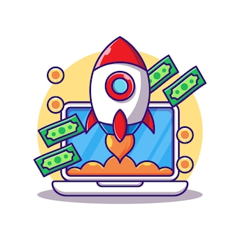 Ordinateur portable avec argent et fusée