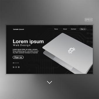 Ordinateur portable bitcoin noir abstrait pour page d'accueil