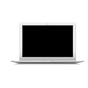 Ordinateur portable blanc avec moniteur noir isolé sur fond blanc