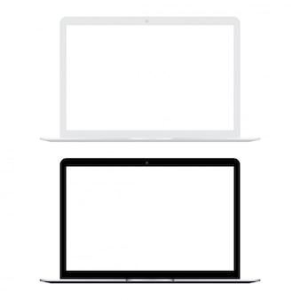 Ordinateur portable blanc et noir avec écran blanc