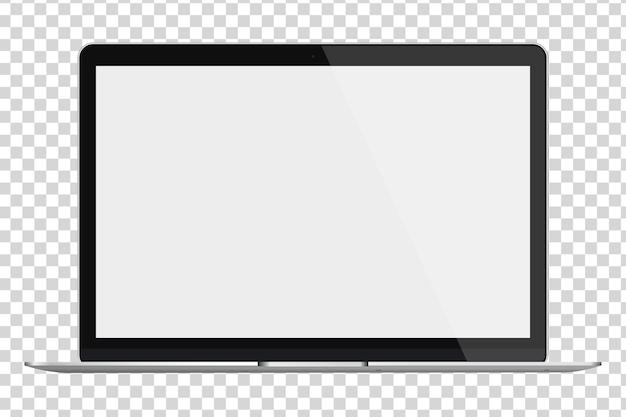 Ordinateur portable brillant moderne avec écran blanc isolé sur fond transparent.