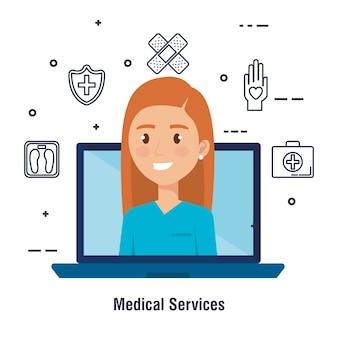 Ordinateur portable avec caractère médecin et icônes de télémédecine