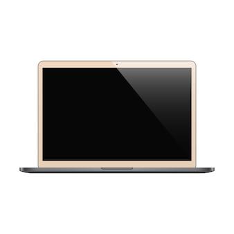 Ordinateur portable couleur biege avec écran noir isolé