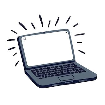 Ordinateur portable dans un style plat de dessin animé