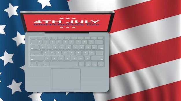 Ordinateur portable sur le drapeau des états-unis célébration de la fête de l'indépendance américaine 4 juillet bannière carte de voeux illustration vue d'angle supérieur horizontal