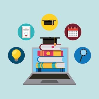Ordinateur portable avec e-livres chapeau de graduation d'apprentissage en ligne l'éducation