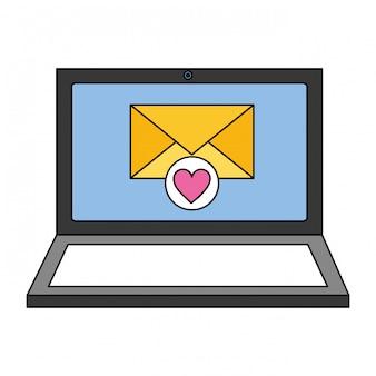 Ordinateur portable email love médias sociaux