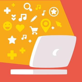 Ordinateur portable avec ensemble d'icônes de médias sociaux