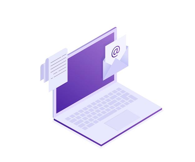 Ordinateur portable avec enveloppe et document à l'écran. courriel, marketing par courriel, publicité sur internet s. illustration, isométrique