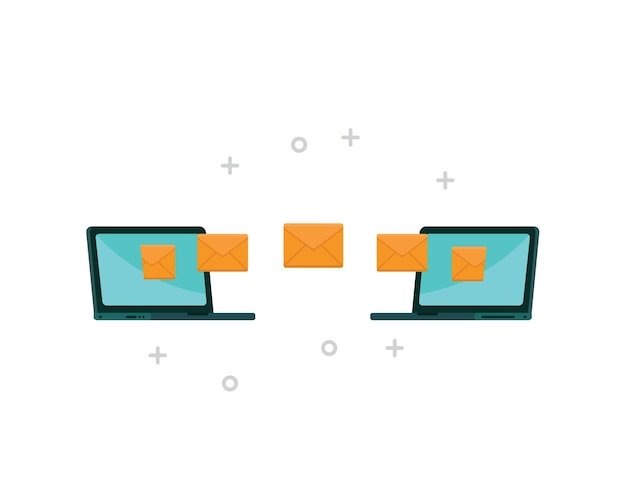 Ordinateur portable envoyant des courriers électroniques à d'autres avec une connexion internet