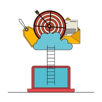 Ordinateur portable avec des escaliers pour le stockage dans le nuage