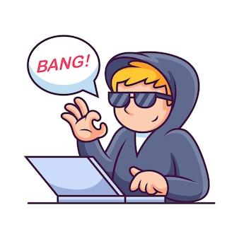 Ordinateur portable d'exploitation de pirate informatique. icône illustration. concept d'icône de technologie scientifique isolé