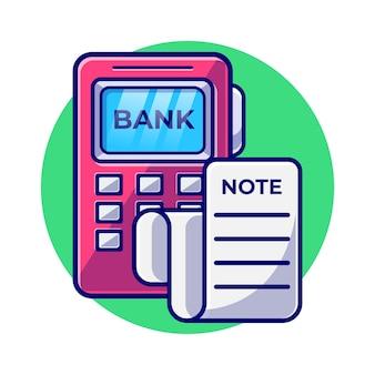Ordinateur portable avec facture et pièce de monnaie à plat illustration