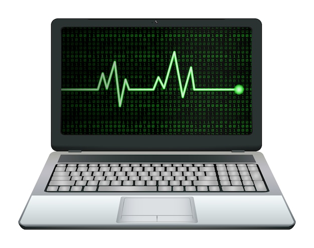 Ordinateur portable avec la fréquence cardiaque verte à l'écran