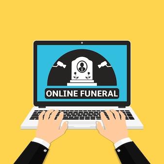 Ordinateur portable avec funérailles en ligne