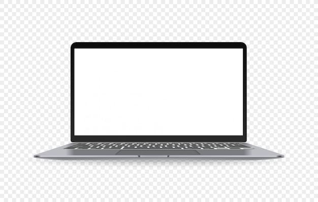 Ordinateur portable grand écran moderne avec écran vide isolé sur fond transparent