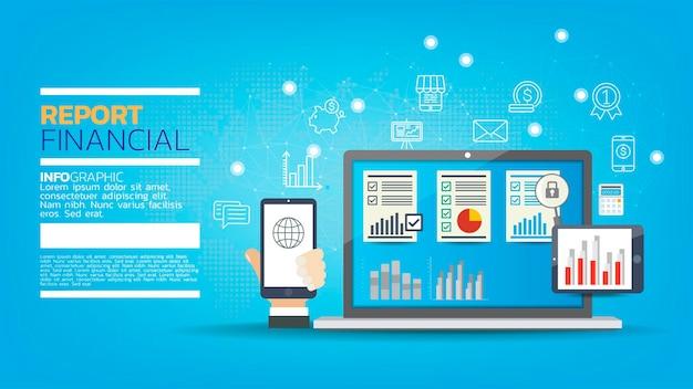 Ordinateur portable avec graphiques et tableaux à l'écran, comptabilité, analyse, audit, recherche, résultats.