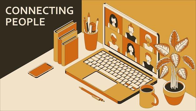 Ordinateur portable avec groupe de personnes faisant une vidéoconférence. apprentissage ou rencontre en ligne avec téléconférence.