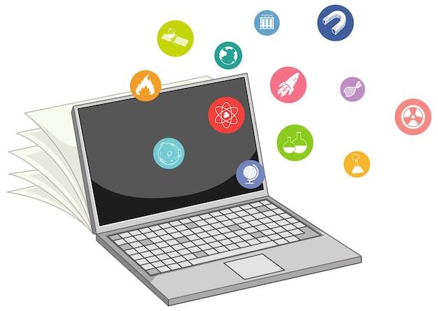 Ordinateur portable avec l'icône de l'éducation isolée