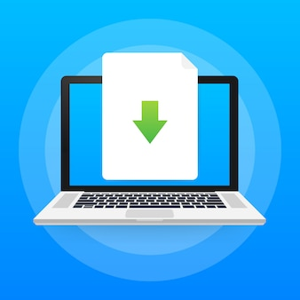 Ordinateur portable et icône de fichier de téléchargement. concept de téléchargement de documents.