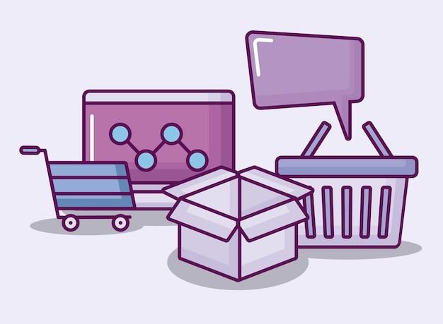 Ordinateur portable avec des icônes de commerce électronique