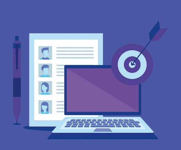 Ordinateur portable avec des icônes de marketing des médias sociaux