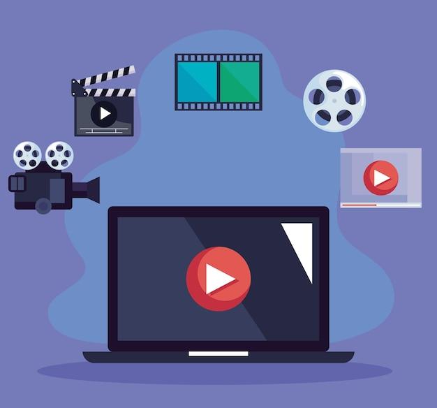 Ordinateur portable avec icônes vidéo
