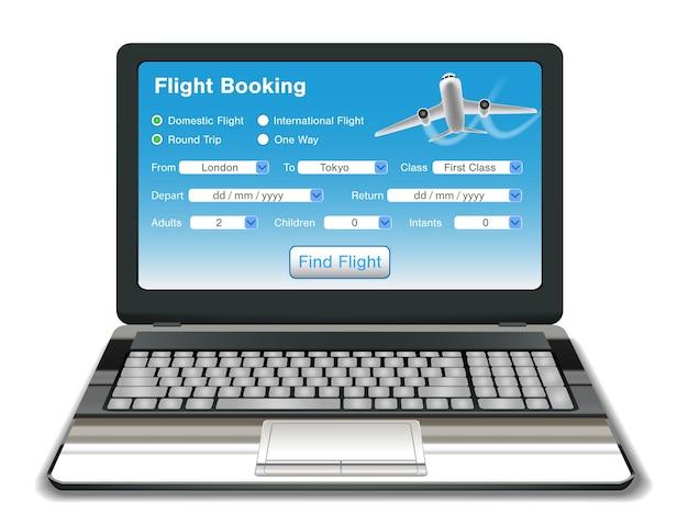 Ordinateur portable avec interface de réservation de vol en ligne