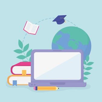Ordinateur portable livres éducation scolaire en ligne
